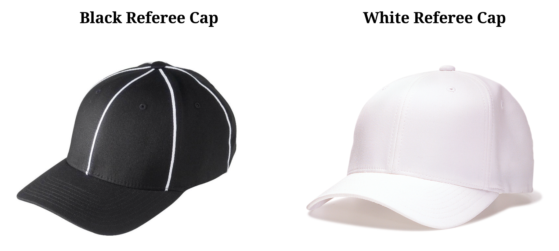 fc7c7ffde1dce The black referee cap should be worn by each official during every game.  The white referee cap should only worn by the Referee during Varsity games.